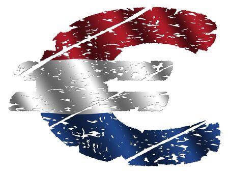 dutch flag: grunge euro symbol with Dutch flag on white illustration