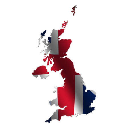 rippled: Britain map with rippled flag on white illustration Stock Photo