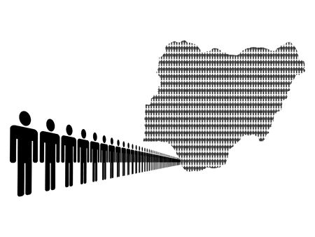 Map of Nigeria made of people with line of men photo