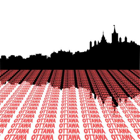Ottawa skyline with text perspective illustration illustration