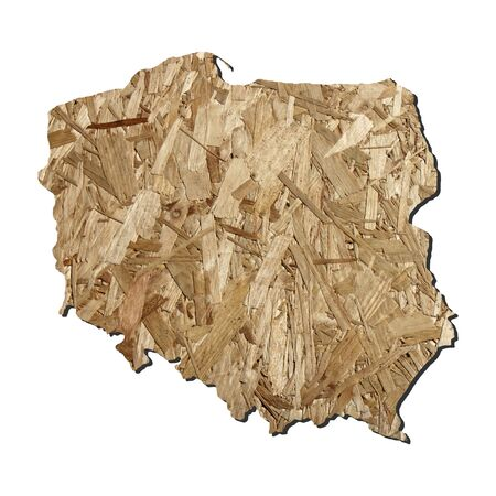 chipboard: Map of Poland with chipboard background on white