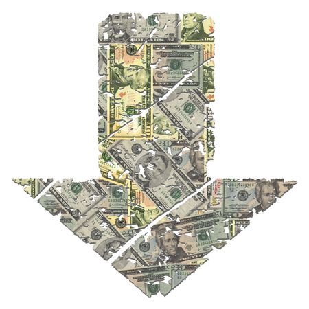 downwards: grunge downwards American dollar arrow on white illustration