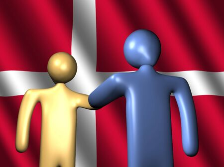 danish flag: abstract people shaking hands with Danish flag illustration