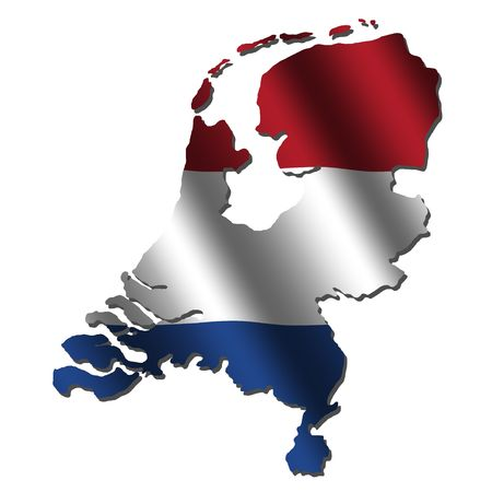 rippled: Netherlands map with rippled flag on white illustration