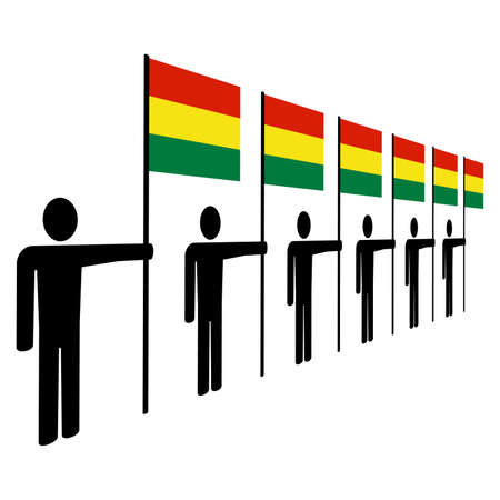 illustrati: line of men holding Bolivianflags illustration