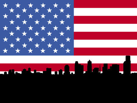 Seattle skyline and American flag illustration illustration