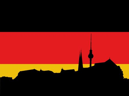observation: Berlin skyline with German flag illustration