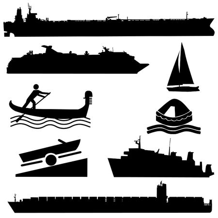 assorted boat silhouettes container ship tanker illustration