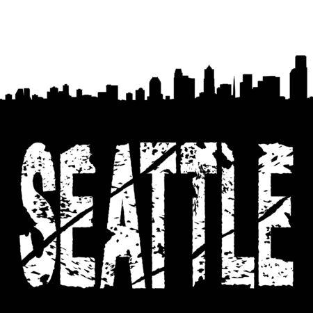 Seattle grunge text with skyline illustration illustration