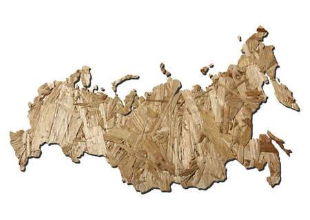 chipboard: Map of Russia with chipboard background on white