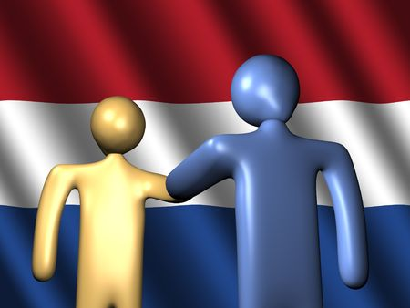 abstract people shaking hands with Dutch flag illustration illustration