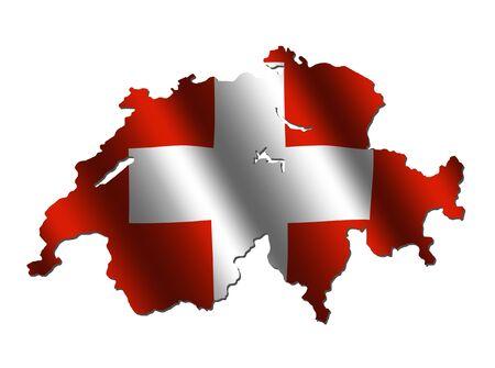 Switzerland map with rippled flag on white illustration Stock Photo
