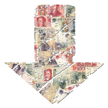 slump: grunge downwards Chinese Yuan arrow on white illustration Stock Photo