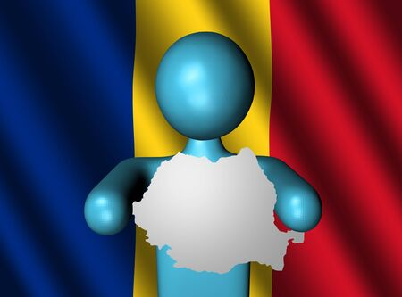 romanian: person holding Romania map sign with Romanian flag
