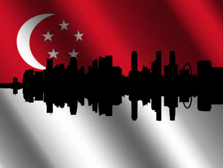 flutter: Singapore skyline with their rippled flag Editorial