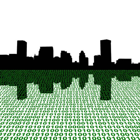 baltimore: Baltimore skyline with binary perspective illustration