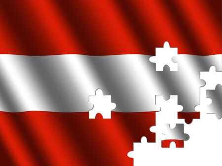 rippled: Austria rippled flag with jigsaw pieces illustration