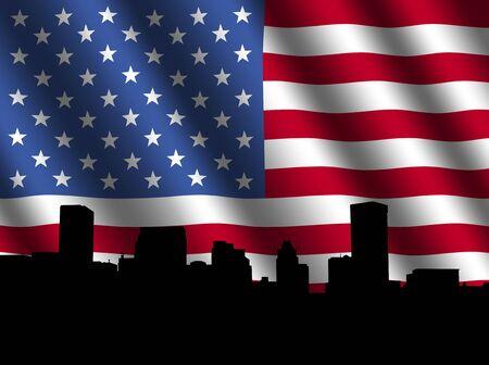 rippled: Baltimore skyline with rippled American Flag illustration