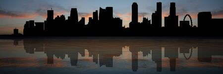 singapore skyline: Singapore Skyline Panorama reflected At Sunset illustration