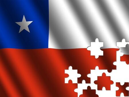 rippled: Chile rippled flag with jigsaw pieces illustration Stock Photo