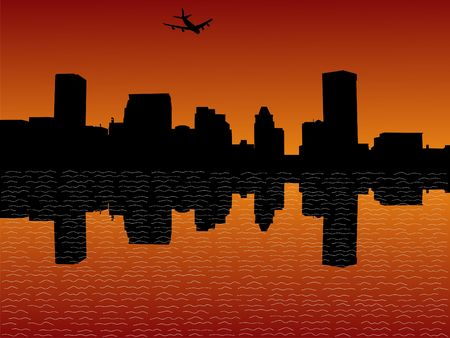 arriving: plane arriving in Baltimore at sunset illustration Stock Photo