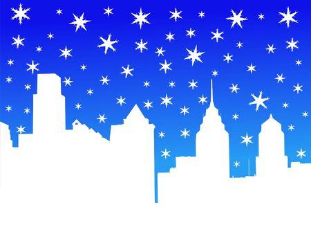 philadelphia: Philadelphia skyline in winter with falling snow