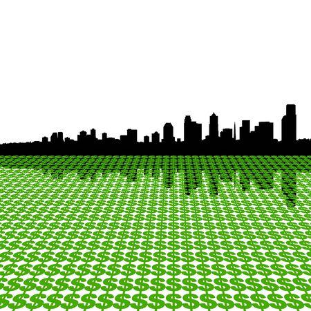 seattle skyline: Seattle skyline reflected with dollar symbols illustration Stock Photo