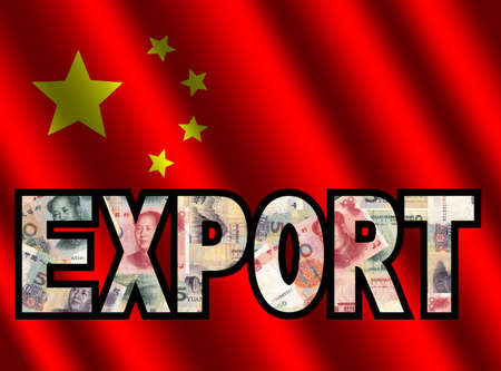 Export Text with Yuan and Chinese flag illustration illustration