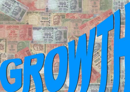 rupees: growth text with Indian Rupees background