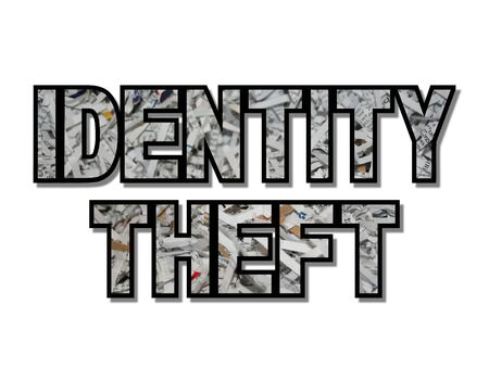 id theft: Identity theft text with shredded paper illustration