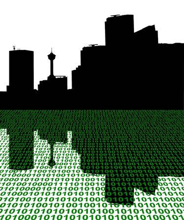 calgary: Calgary skyline with binary perspective illustration