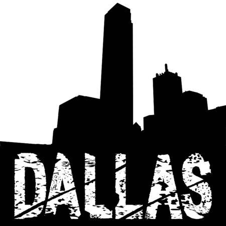 Dallas grunge text with skyline illustration illustration
