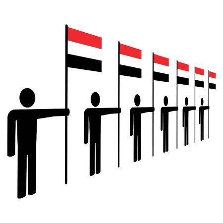 yemen: line of men holding Yemen flags illustration