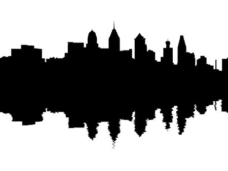 reflected: Philadelphia skyline reflected with ripples illustration
