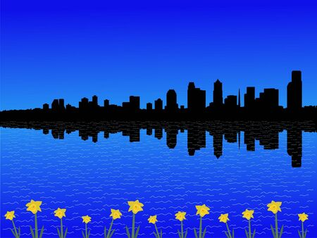 seattle skyline: Seattle skyline in spring with daffodils illustration