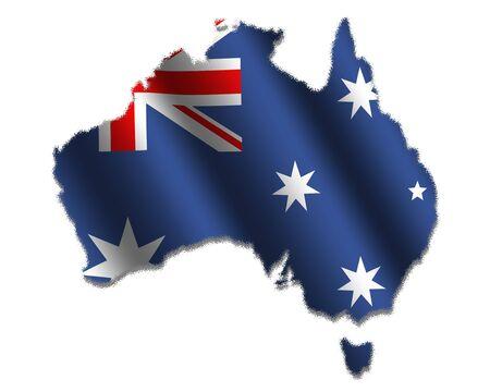 Australian map with rippled flag on white illustration illustration
