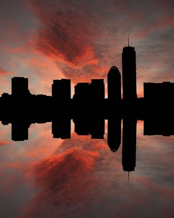 Boston skyline reflected at sunset illustration illustration