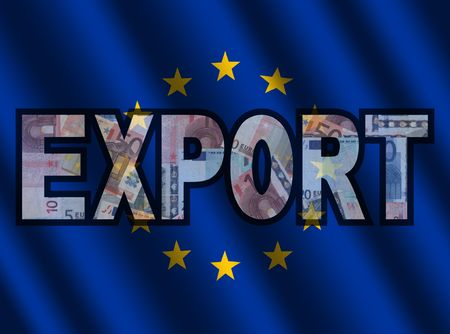 eu: Export Text with euros and EU flag illustration Stock Photo
