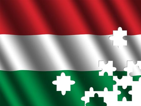rippled: Hungary rippled flag with jigsaw pieces illustration