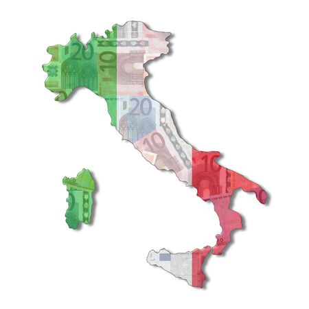 Italy Map flag with euro notes illustration illustration