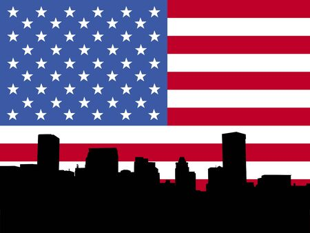 baltimore: Baltimore skyline with American flag illustration Stock Photo