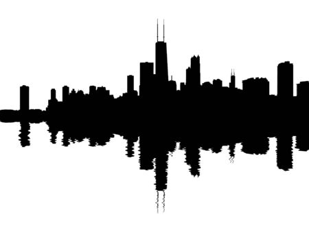 chicago skyline: Chicago skyline reflected with ripples illustration