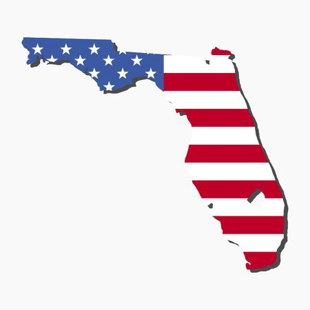 florida: Map of the State of Florida and American flag illustration