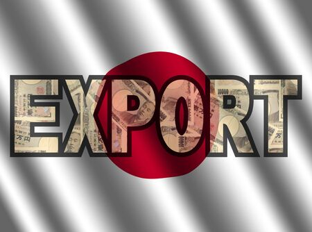 Export Text with Yen and Japanese flag illustration illustration