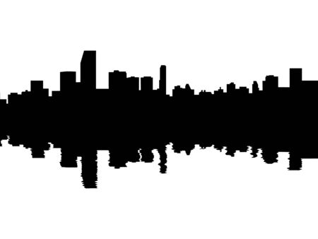 reflected: Miami skyline reflected with ripples illustration