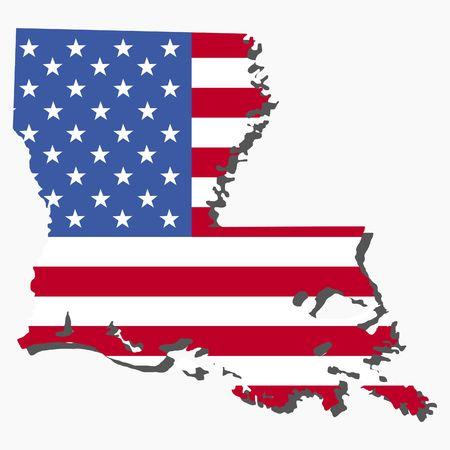 louisiana flag: Map of the State of Louisiana and American flag illustration Stock Photo