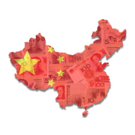 yuan: China Map flag with Yuan notes illustration Stock Photo