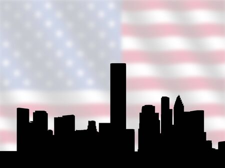 houston: Houston skyline against blurred American Flag illustration