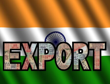 Export Text with Rupees and Indian flag illustration illustration