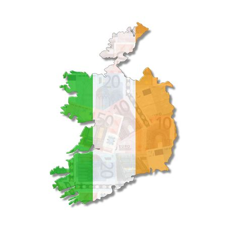 ireland flag: Ireland Map flag with euro notes illustration